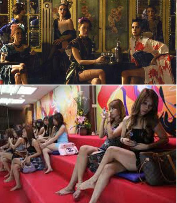Las prostitutas que muestran sus piernas
