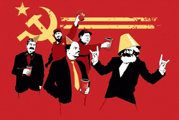 A propoganda t-shirt cover showing communist leaders havng a party