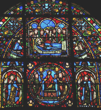 Stained Glass Window In The Cathedral Of Saint Denis Paris