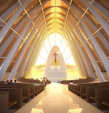 barren interior of a well lit futuristic church