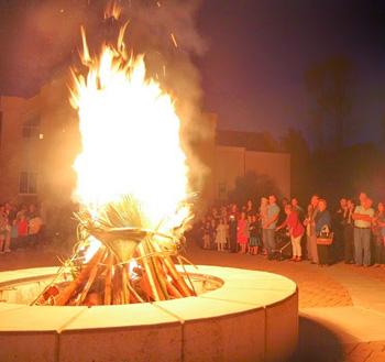 A large vigil fire
