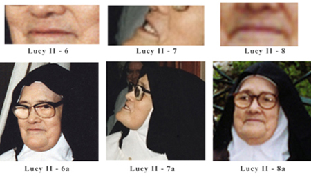 Three different images of Sister Lucy II