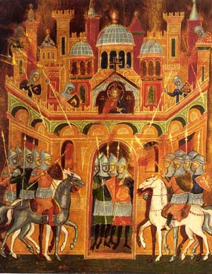 A medieval depiction of knights liberating Jerusalem