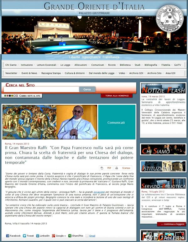 Italian Fremasonry praises Pope Francis I -01