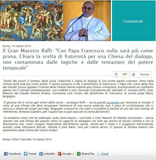 Italiam masonería Papa elogia a Francisco I - 02