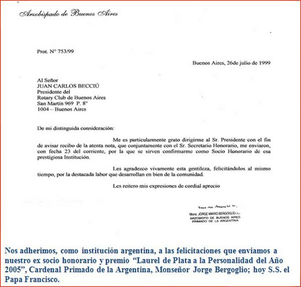 Bergoglio member of the Rotary Club