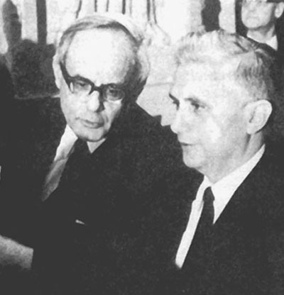 A black and white photo of Ratzinger with Karl Rahner