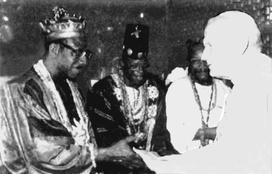 John Paul II greeting the Voodoo high priest in Cotonou, Benin in February 1993 @ TraditionInAction.org