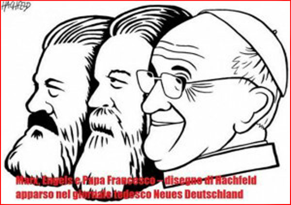 Pope Francis pictured as communist