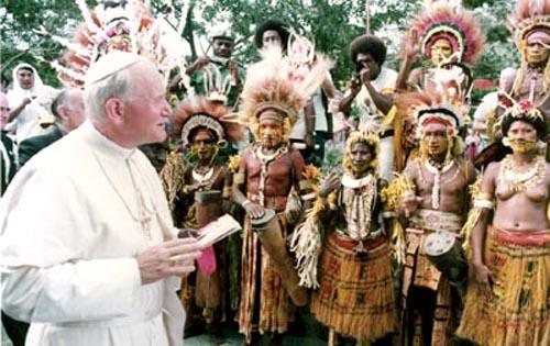 John Paul II greets half-naked natives in Papua New Guinea