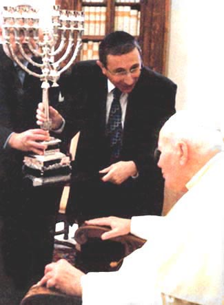 John Paul II is rewarded with a menorah