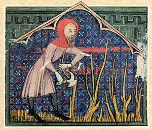 A medieval depiction of a charcoal burner cutting wood