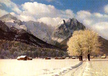 A paintinf of the Swiss Alps in winter