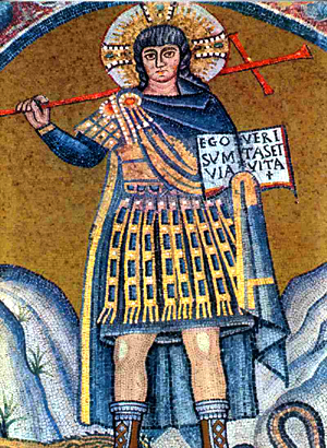 A depiction of Christ as a warrior in Ravenna