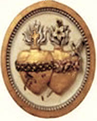 A plaque of the Sacred Hearts of Jesus and Mary