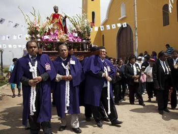 A procession of St. Ephigenia in Lima, Peru