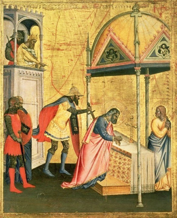 medieval manuscript depicting the martyrdom of st. Matthew