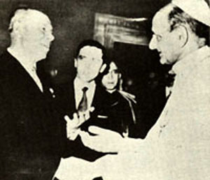 Paul VI shaking hands with the chairman of the USSR supreme soviet Nicholas Podgorny