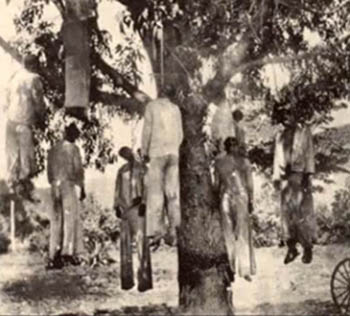 Cristero martyrs hanging from tree