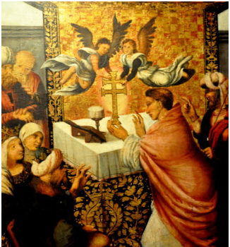 Painting of a priest receiving the Caravaca Cross miraculously from angels