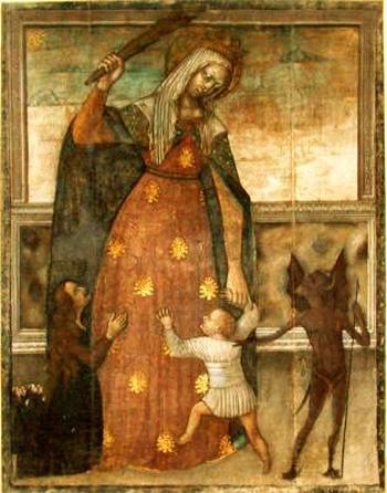 nuestra señora protegiendo niño