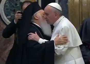Francis I embraces patriarch