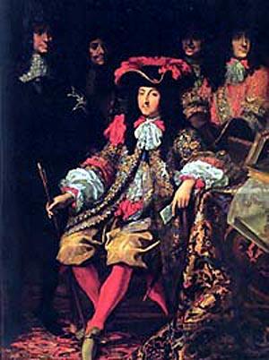 Luis XIV sentado en medio de sus nobles.