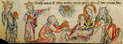 Iluminación Medieval de Navidad: Adoración de los Reyes